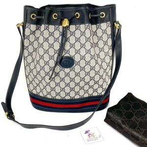 Gucci Vintage GG Blue Bucket Tote Bag